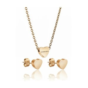 Set náramku a náušnic z chirurgické oceli ve zlaté barvě Victoria Walls Hearts