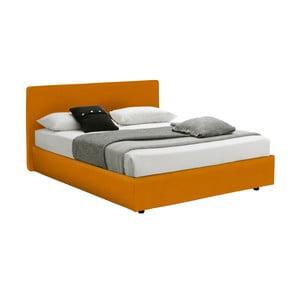 Pat dublu cu spațiu depozitare și saltea 13Casa Ninfea, 160 x 200 cm, portocaliu
