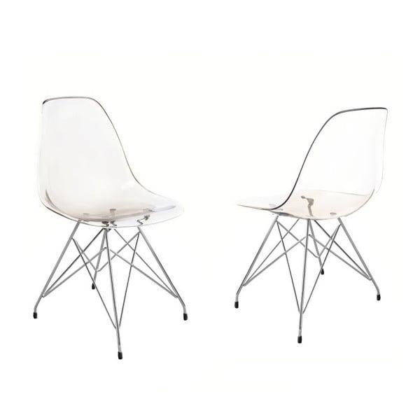 Transparentní jídelní židle v kouřovém provedení Canett Crystal