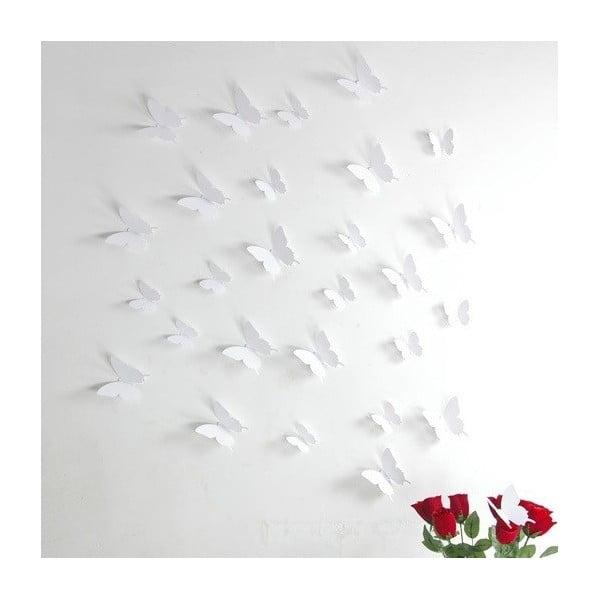 Set autocolante 3D Ambiance White Butterflies, alb, 12 buc.