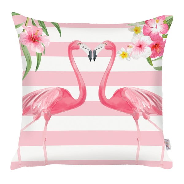 Ružová obliečka na vankúš Apolena Lovely Flamingos, 43×43 cm