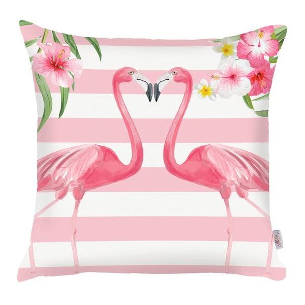 Różowa poszewka na poduszkę Apolena Lovely Flamingos, 43x43 cm