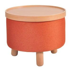 Oranžová stolička s detaily z bukového dřeva a odnímatelnou deskou Garageeight Molde, ⌀50cm