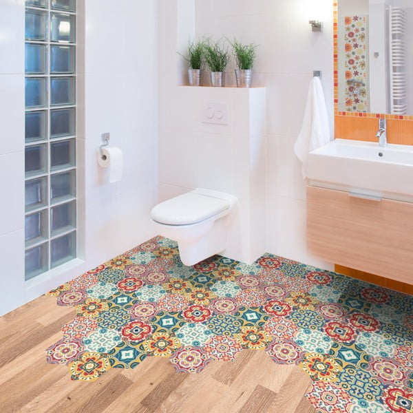 Sada 10 samolepek na podlahu Ambiance Floor Stickers Hexagons Lorena, 40 x 90 cm