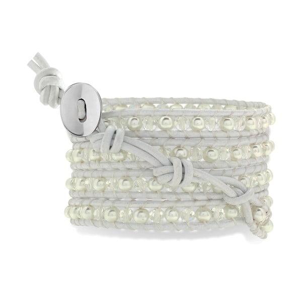 Bílý pětiřadý náramek z pravé kůže s perlami Lucie & Jade
