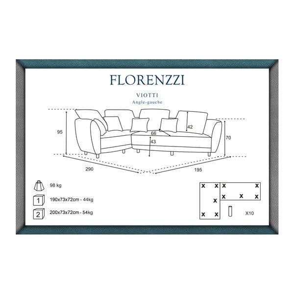 Canapea cu șezlong pe partea stângă Florenzzi Viotti, roșu
