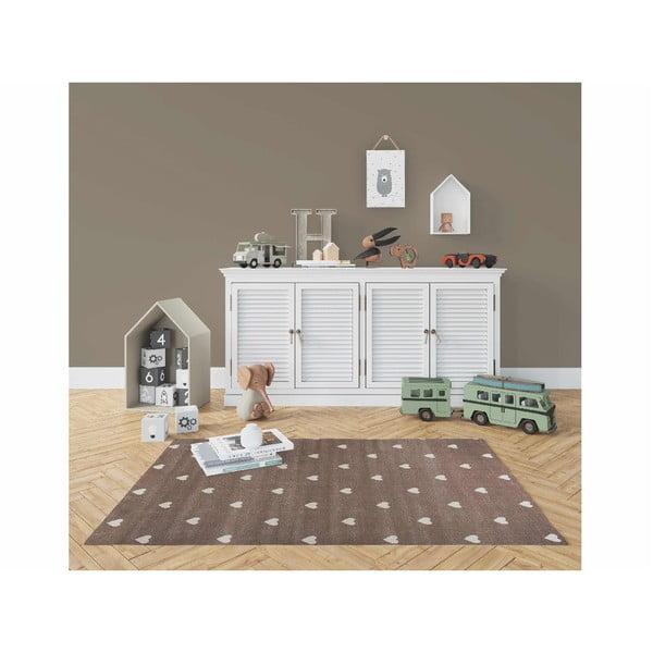 Hnědý koberec s puntíky KICOTI Peas, 80 x 150 cm