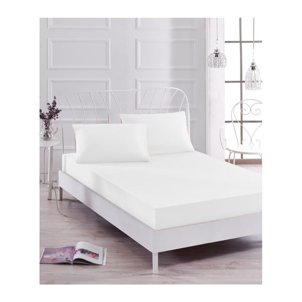 Set bílého elastického prostěradla apovlaku na polštář na jednolůžko Basso Blanco, 100 x 200 cm