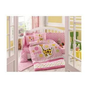 Lenjerie de pat cu cearșaf Puffy Pink, 100 x 150 cm