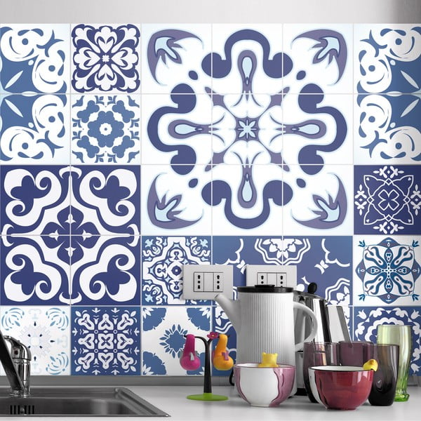 Sada 24 samolepek Ambiance Azulejos Polka, 50 x 60 cm