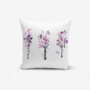 Povlak na polštář s příměsí bavlny Minimalist Cushion Covers Purple Key Flower Striped, 45 x 45 cm