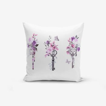 Față de pernă cu amestec din bumbac Minimalist Cushion Covers Purple Key Flower Striped, 45 x 45 cm de la Minimalist Cushion Covers