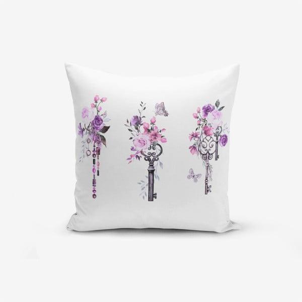 Față de pernă cu amestec din bumbac Minimalist Cushion Covers Purple Key Flower Striped, 45 x 45 cm