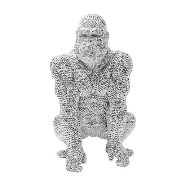 Dekorativní socha ve stříbrné barvě Kare Design Gorilla, výška46 cm
