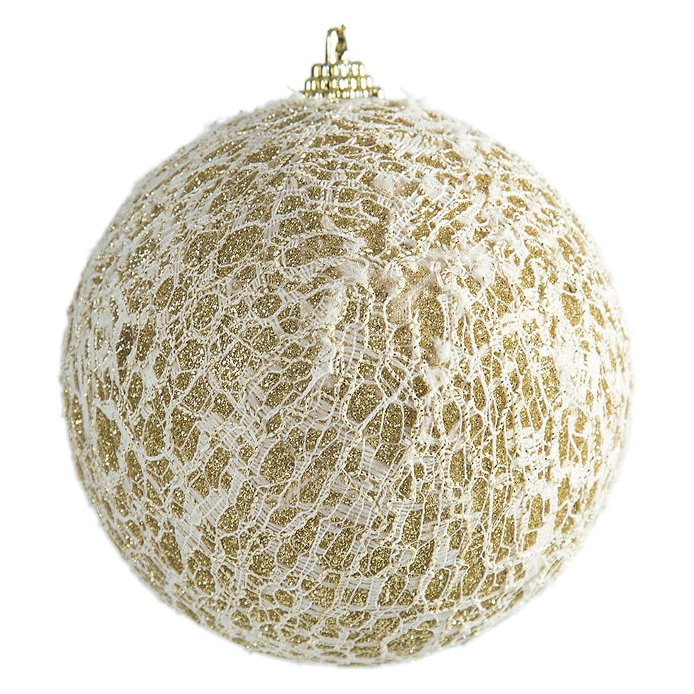 Sada 6 plastových vánočních ozdob v bílé a zlaté barvě DecoKing Niebla