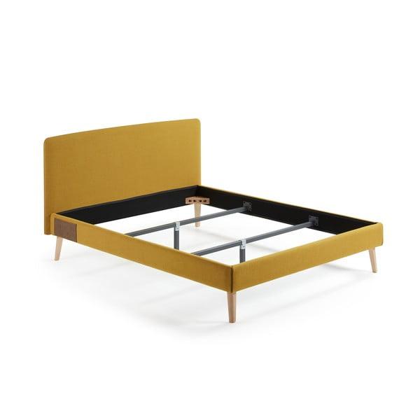 Żółte łóżko 2-osobowe La Forma Lydia,213x178 cm