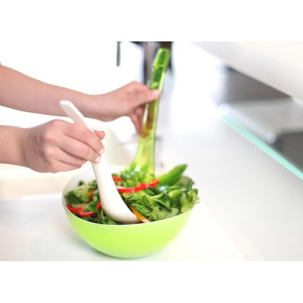 Tacâm pentru salată Vialli Design, alb - verde