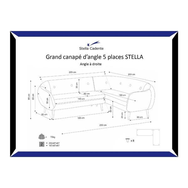 Šedá pohovka Stella Grand s lenoškou na pravé straně