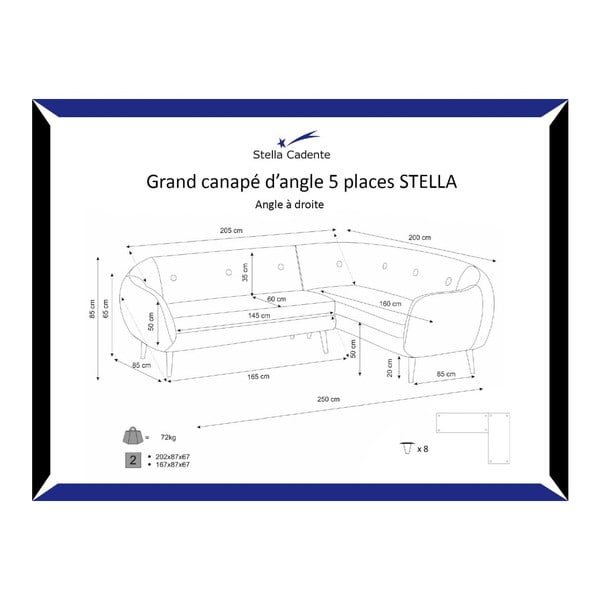 Pohovka Stella Grand Black s lenoškou na pravé straně
