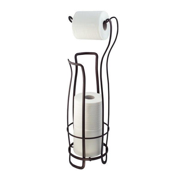 Stalowy stojak na papier toaletowy w kolorze brązu InterDesign, 62,5 cm