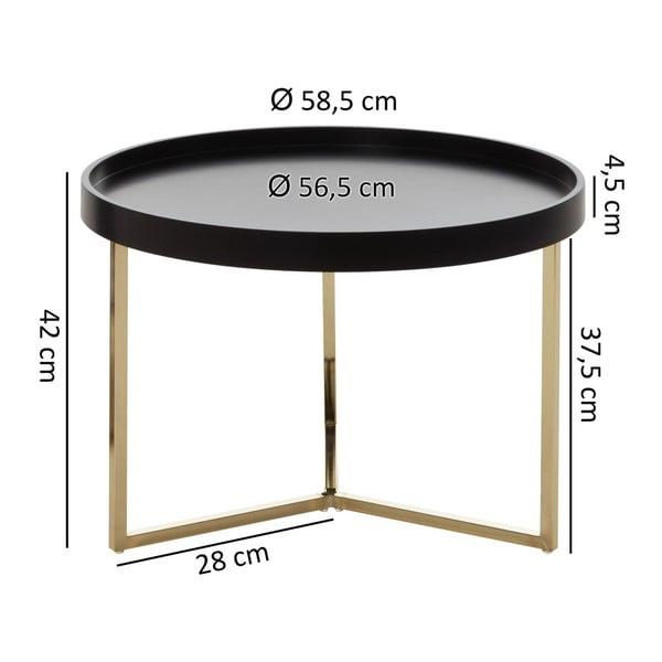 Černý příruční stolek s nohami ve zlaté barvě Skyport Wohnling Eva, 58,5 cm