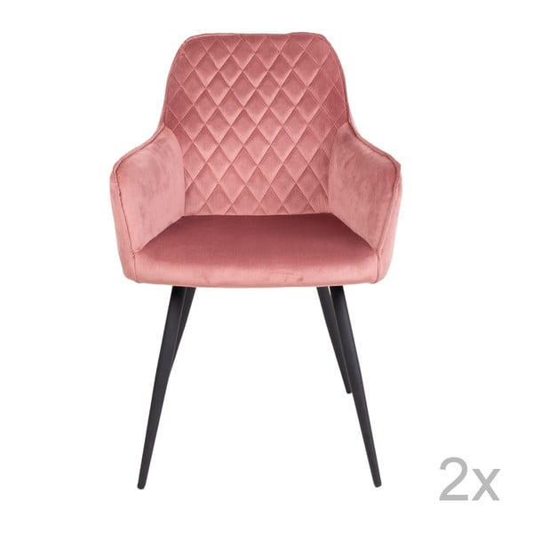 Sada 2 růžových sametových jídelních židlí House Nordic Harbo