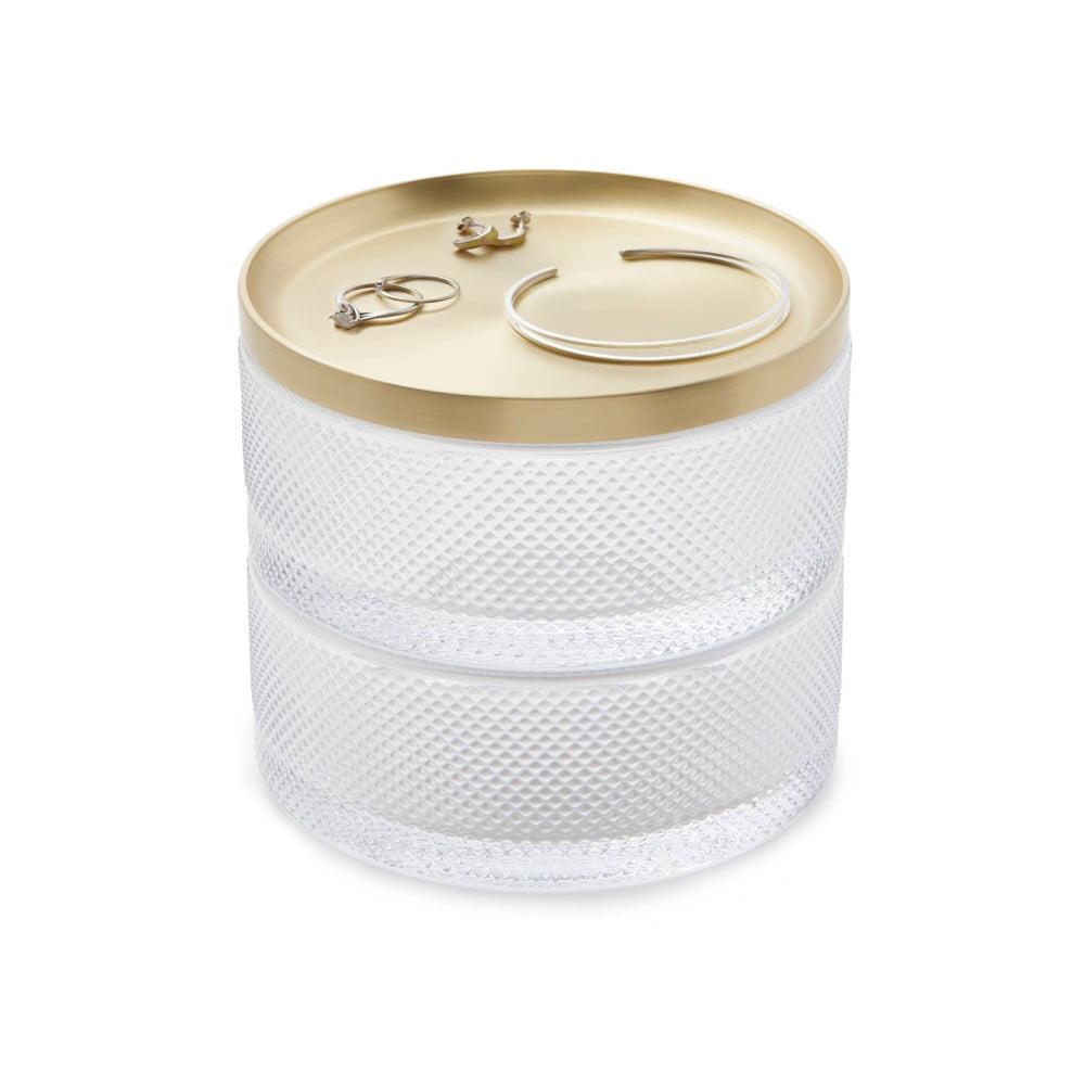 Skleněná šperkovnice s víčkem ve zlaté barvě Umbra Tesora