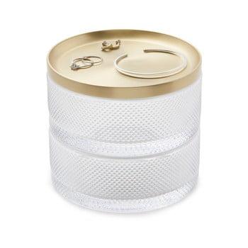 Cutie pentru bijuterii din sticlă și capac auriu Umbra Tesora imagine