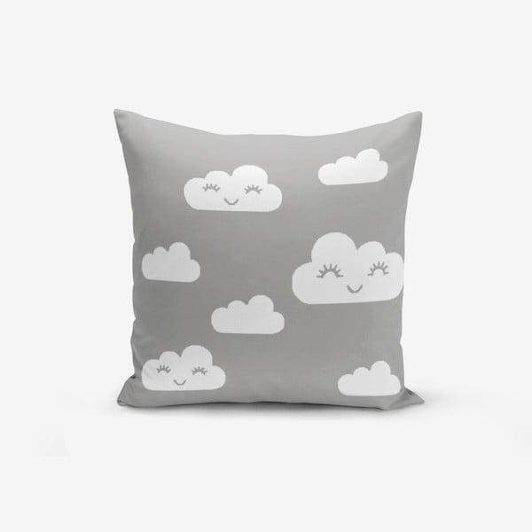 Față de pernă cu amestec din bumbac Minimalist Cushion Covers Grey Background Cloud, 45 x 45 cm
