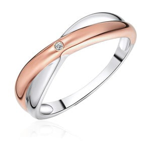 Stříbrný prsten s detaily v barvě růžového zlata s pravým diamantem Tess Diamonds Amaia, vel.58