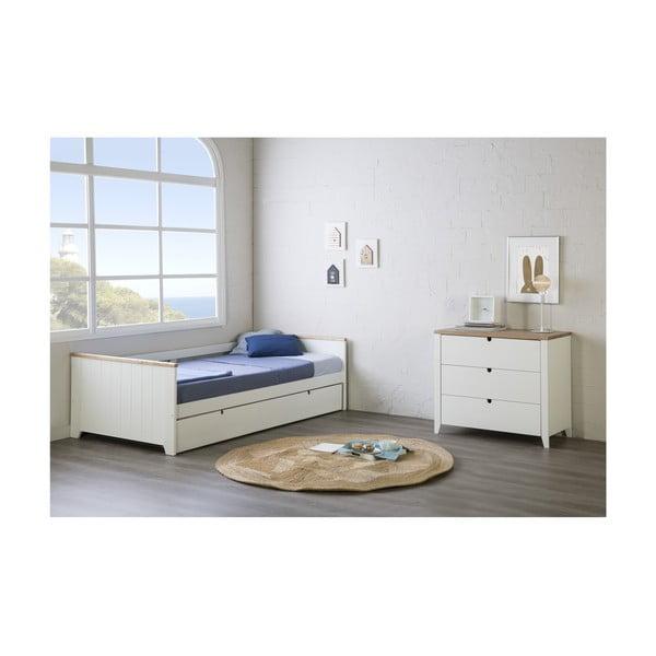 Białe łóżko z szufladą na materac dla gościa Marckeric Madi, 90x190 cm