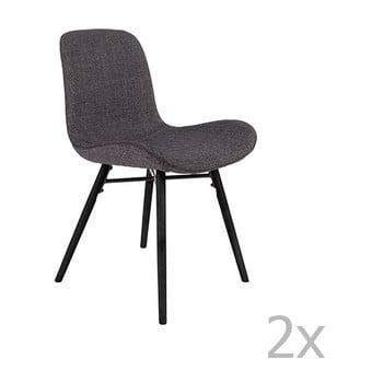 Set 2 scaune White Label Lester, gri antracit de la White Label