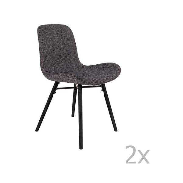 Lester antracitszürke szék szett, 2 db-os - White Label