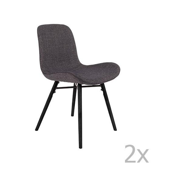 Set 2 scaune White Label Lester, gri antracit