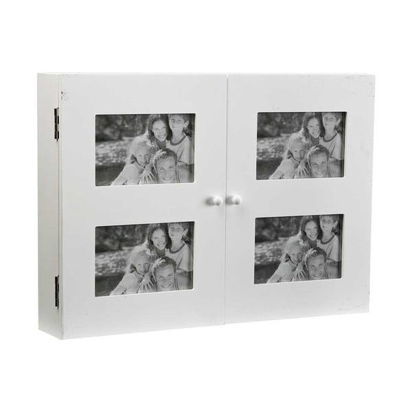 Dřevěný nástěnný držák na klíče s rámečky na 4 fotografie Versa