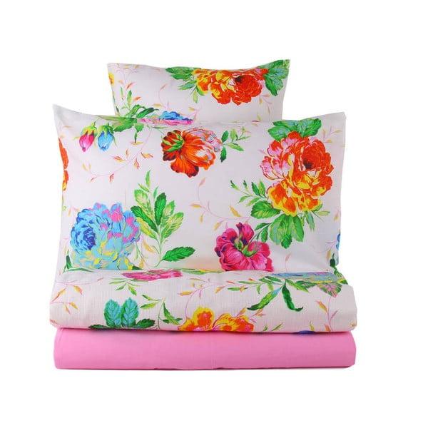Sada přehozu, prostěradla a povlaku na polštář Love Colors Pink, 160 x 240 cm