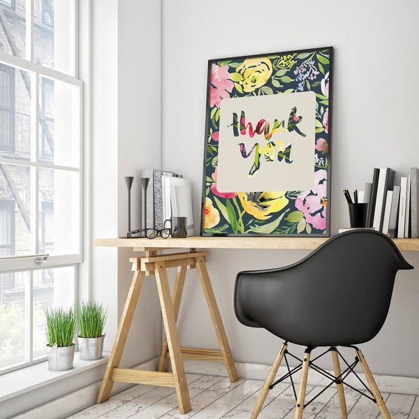 Plakát s květinami Thank You, barevné pozadí, 30 x 40 cm