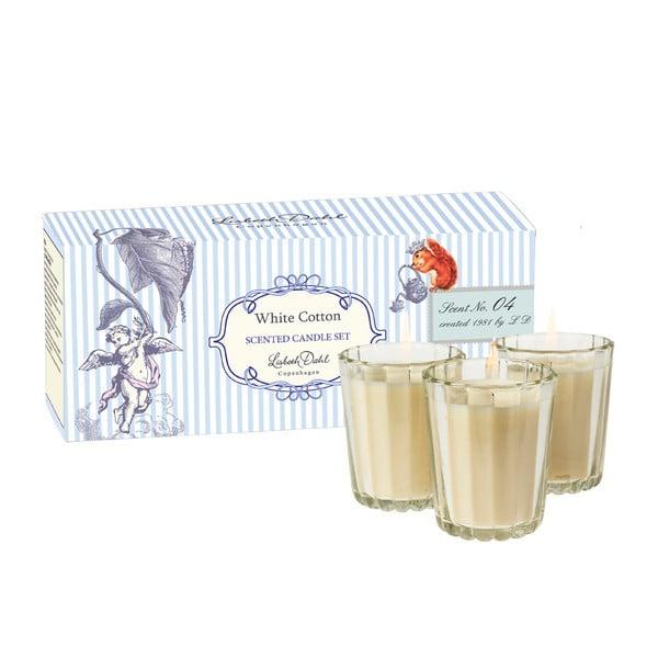 Sada 3 vonných svíček White Cotton od Lisbeth Dahl