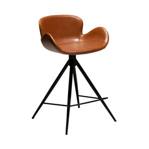 Koňakově hnědá barová židle z eko kůže DAN–FORM Denmark Gaia, výška 87 cm