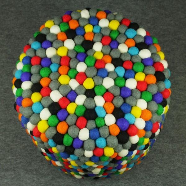 Ručně vyrobený kuličkový puf Happy Pills, kulatý