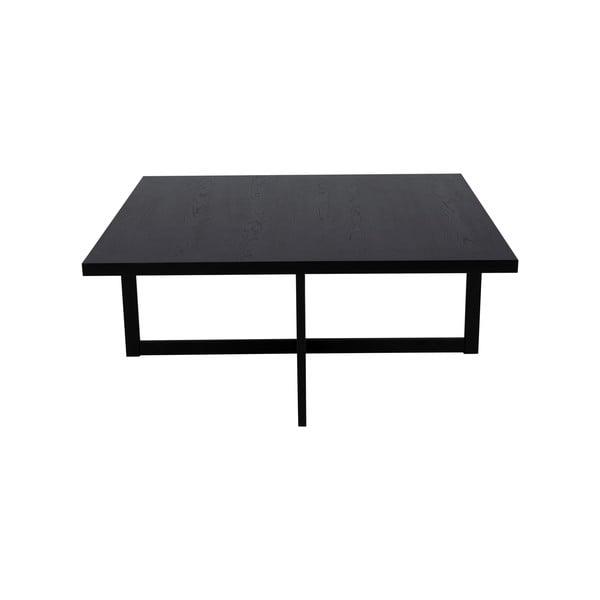 Czarny stolik z drewna dębowego Canett Elliot, 100x100 cm