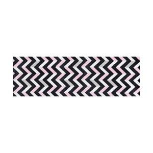 Černo-růžově vzorovaný běhoun White Label Zic Zac, 150 x 50 cm