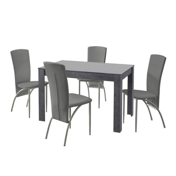 Set jídelního stolu a 4 šedých jídelních židlí Støraa Lori Nevada Slate Light Grey