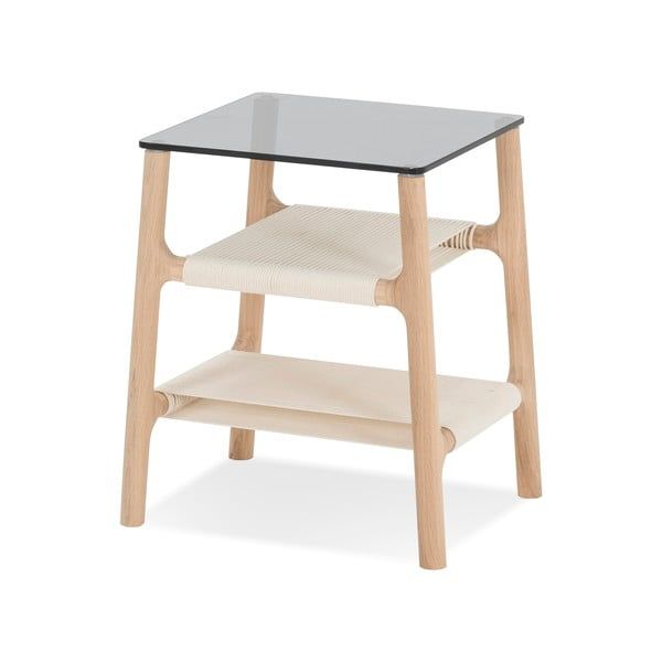 Stolik z konstrukcją z litego drewna dębowego i szarym blatem Gazzda Fawn