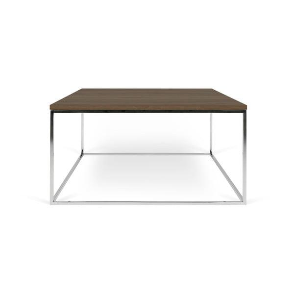 Kávový stolek s deskou v dekoru ořechu a chromovanýma nohama TemaHome Gleam