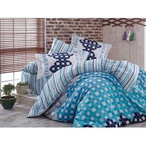 Lenjerie de pat cu cearșaf din bumbac satinat Marcella Dark Blue, 200 x 220 cm