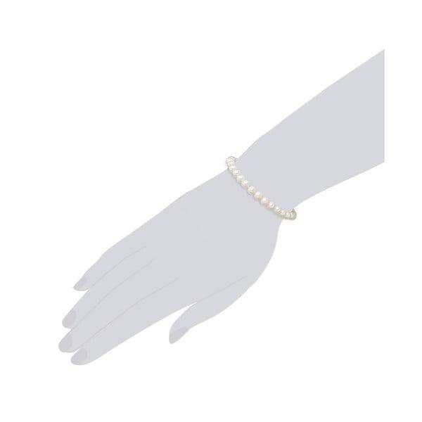 Perlový náramek Muschel, bílé perly 6 mm, délka 19 cm