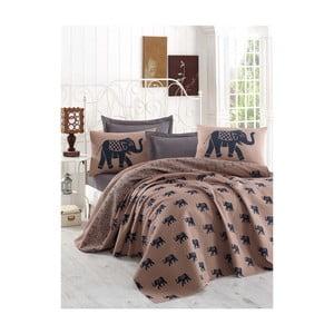 Hnědý lehký přehoz přes postel Fil, 160x235cm