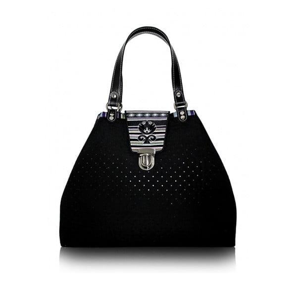 Prošívaná maxi kabelka Goddess s vyšívanou klapkou, šedá