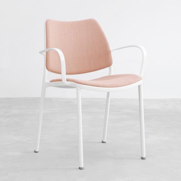 Růžová židle s bílými nohami Stua Gas